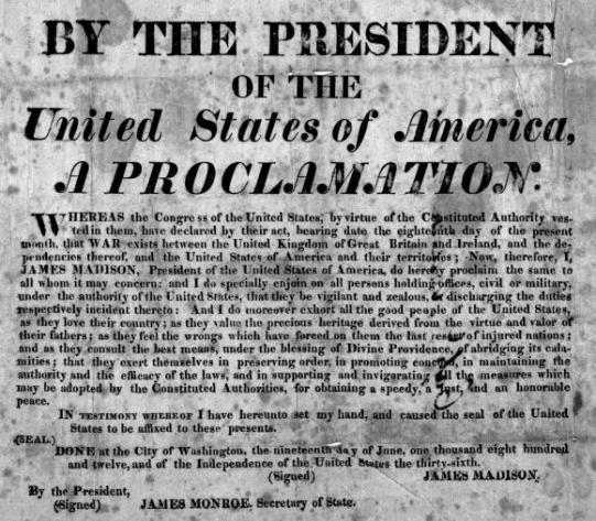 1812 declaration of war